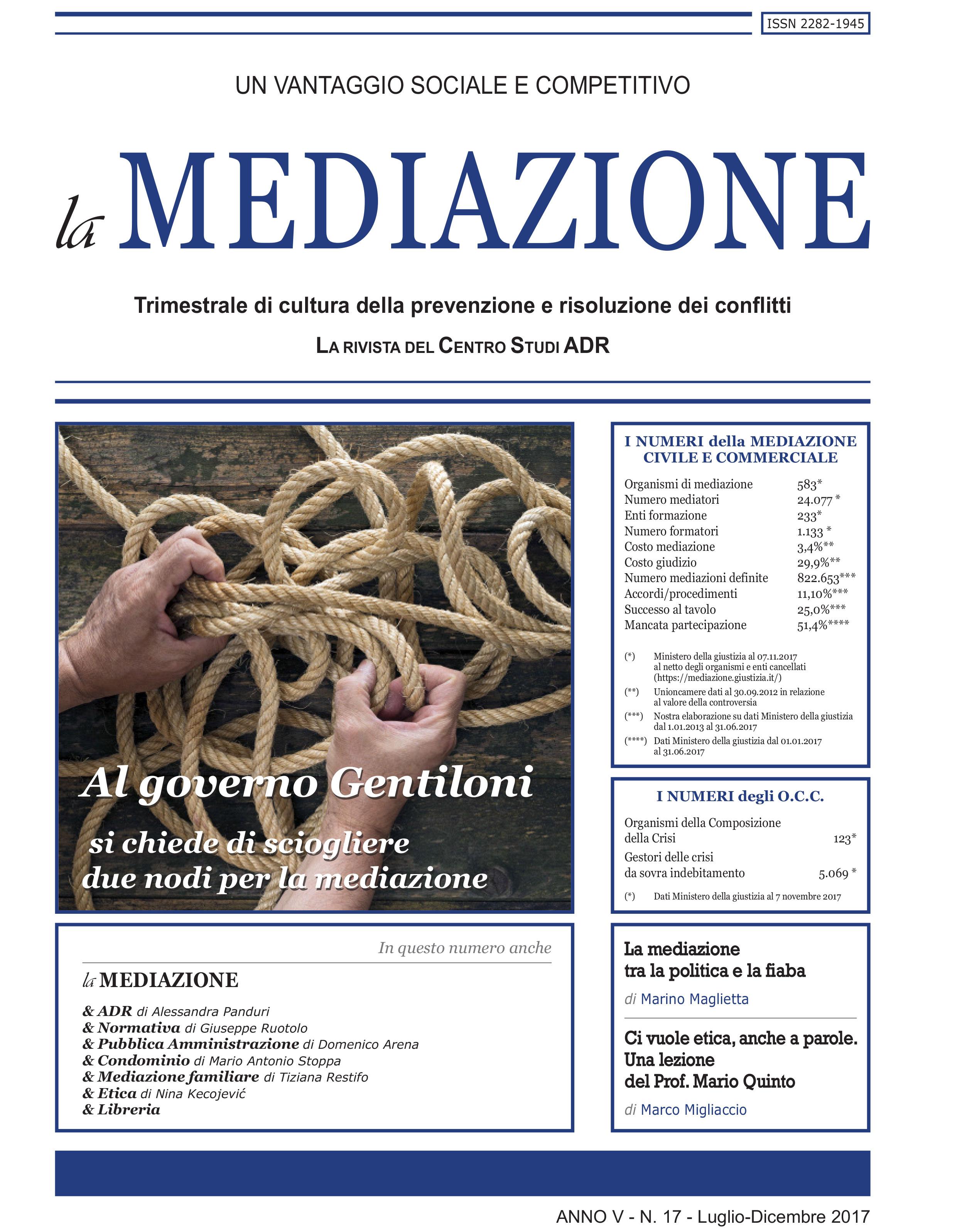 Al governo Gentiloni si chiede di sciogliere 2 nodi per la mediazione di Marco Ceino
